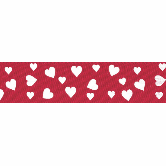 25mm Confetti Hearts Ribbon, Red & White
