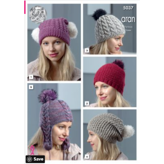 Aran Hats Knitted in Merino Blend Aran or Fashion Aran Combo 5037