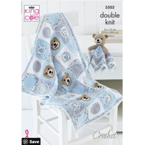 Baby Blankets & Comforter Toys, Crocheted in Cherished and Cherish Dash DK - 5503