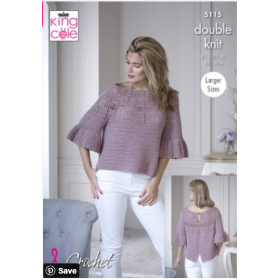 Bell Sleeve & Short Sleeve Tops Crocheted in Finesse Cotton Silk - 5115