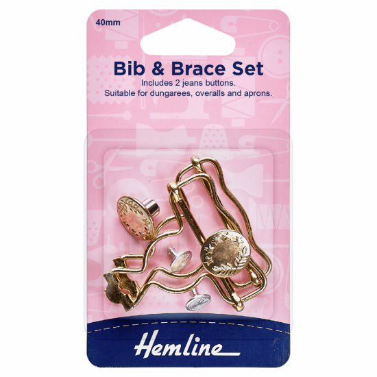 Bib and Brace Set 40mm Gold 2 Pieces