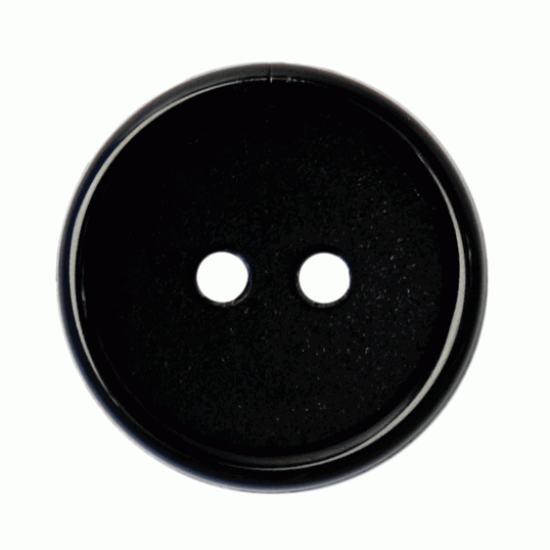 Black Resin, 16mm 2 Hole Button