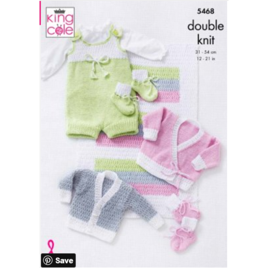 Blanket, Romper, Cardigans & Booties: Knitted in Cottonsoft DK - 5468