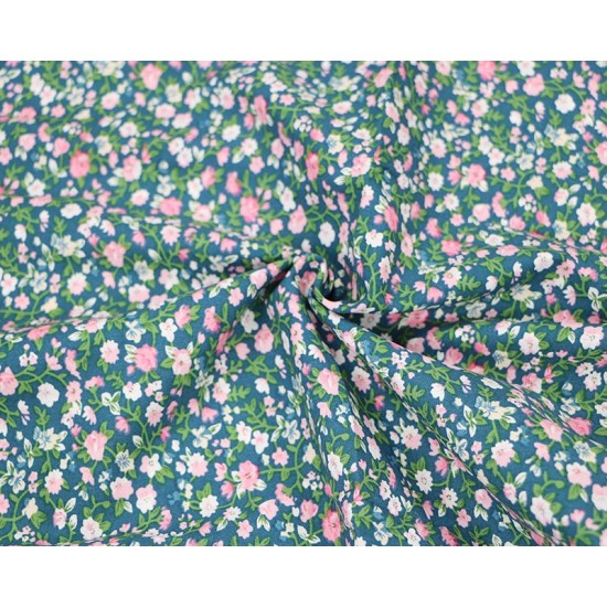 Blue Ditsy Floral Meadow 100% Cotton 145cm