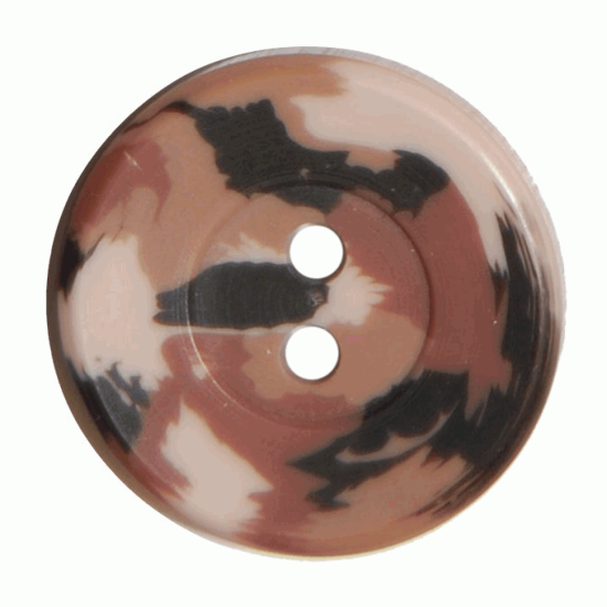 Brown Camo Resin, 20mm 2 Hole Button