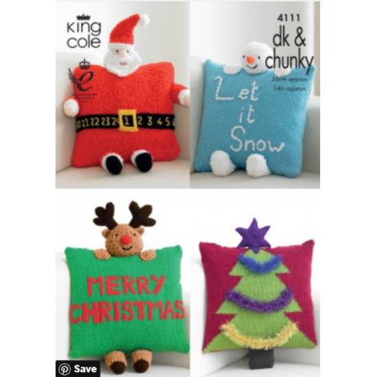 Christmas Novelty Cushions Knitted in any King Cole DK/Chunky - 4111