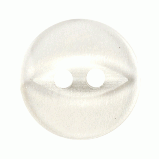 Clear Pearl Resin, 14mm Fish Eye 2 Hole Button