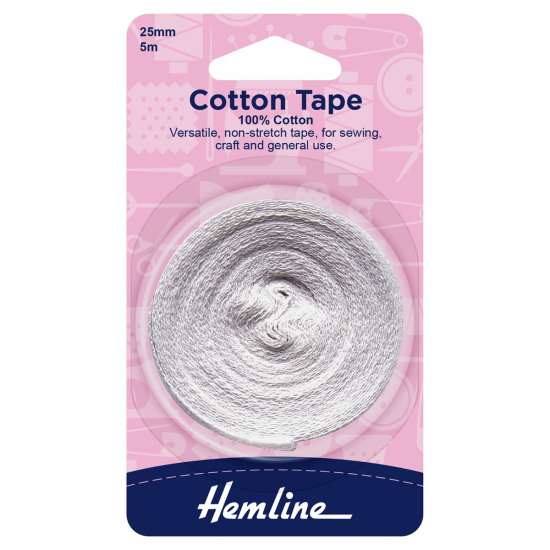 Cotton Tape, 5m x 25mm, White