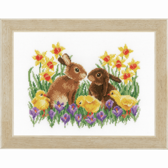 Counted Cross Stitch Kit - Bunnies with Chicks