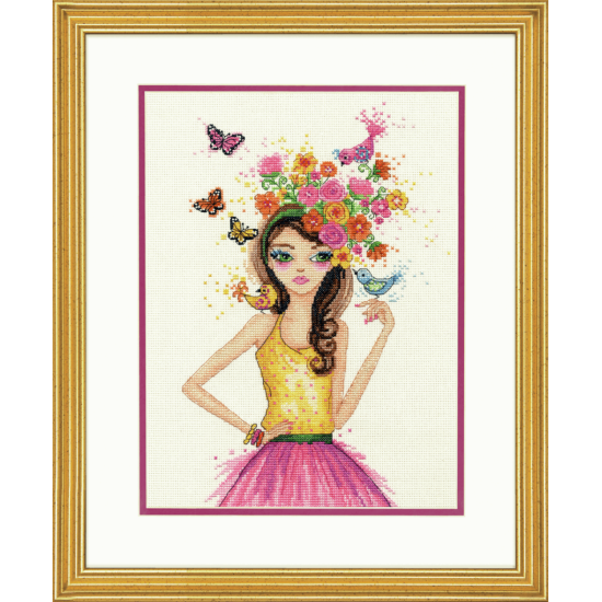 Counted Cross Stitch Kit - Spring Time Girl