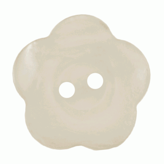Cream Resin, 20mm Flower 2 Hole Button