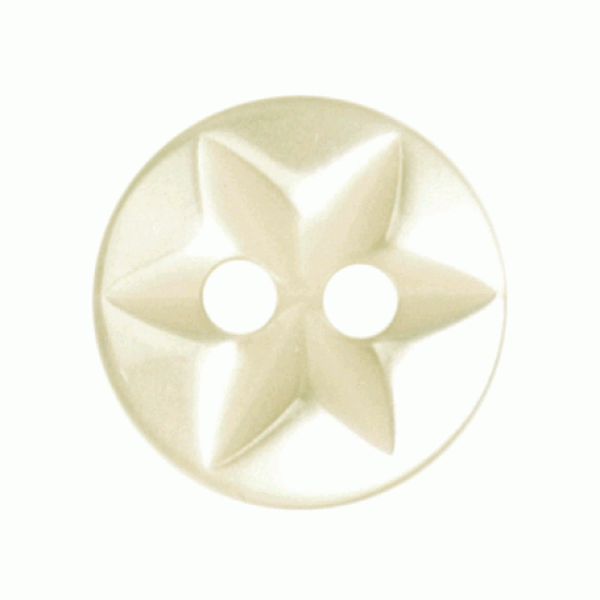 Cream Resin Star Imprint, 10mm 2 Hole Button