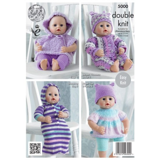 Dolls Clothes Knitted with Various King Cole DK- 5000