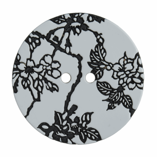 Engraved Floral Button Resin, 34mm 2 Hole Button