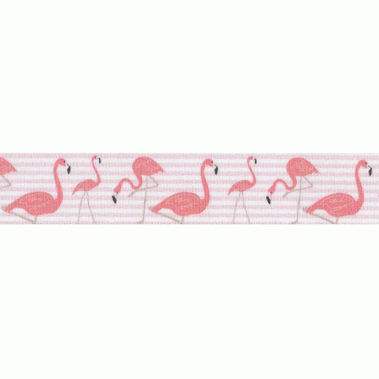 Flamingo Stripes, 25mm, White and Pale Pink