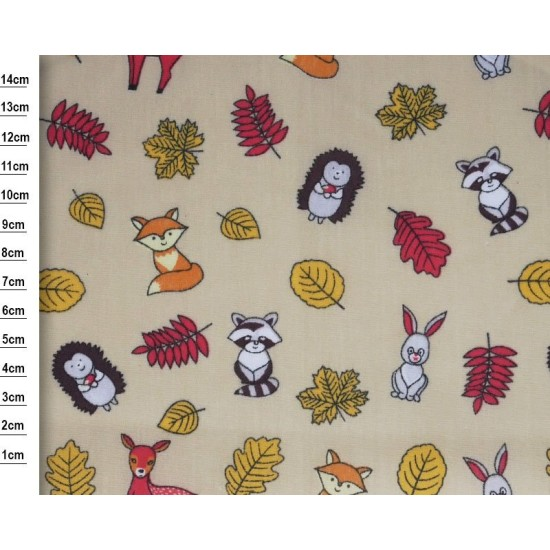 Forest Animals Beige Polycotton 115cm Wide