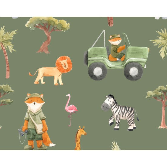 Foxes Goes on Safari 112cm Wide 100% Cotton