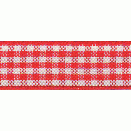 Gingham Ribbon, 5mm, Red