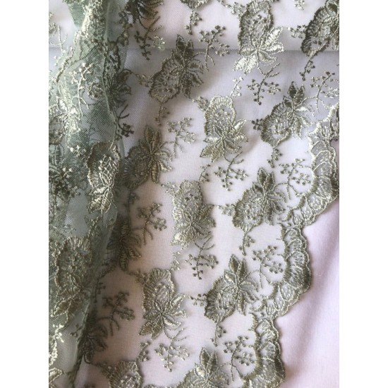 Green Scalloped Edge Lace