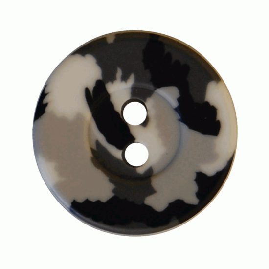Grey Camo Resin, 18mm 2 Hole Button