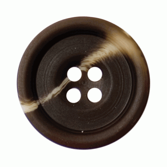 Brown Mock Horn, 19mm 4 Hole Button