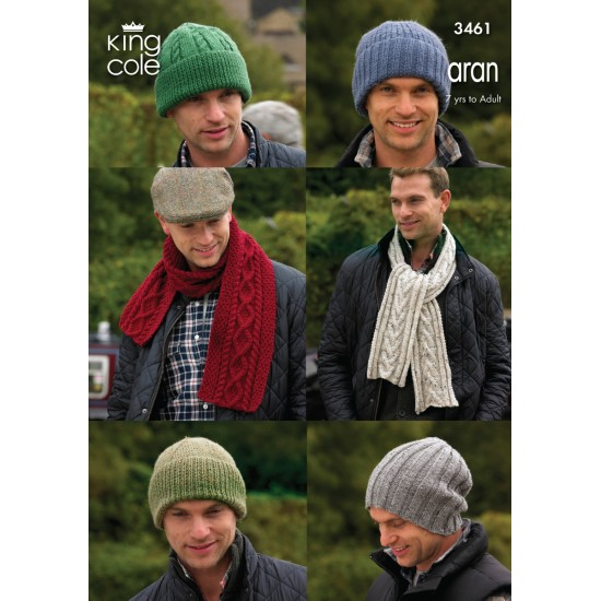 Hats and Scarves Knitted in King Cole Aran - 3461