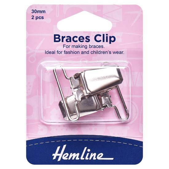 Hemline, Braces Clip, 30mm, Nickel, 2 Pieces
