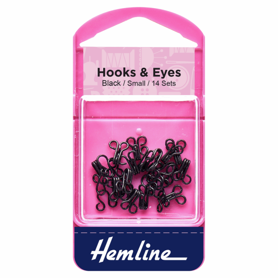 Hook and Eye, Black, Size 1