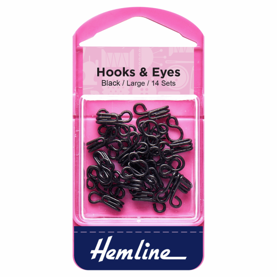 Hook and Eye, Black, Size 3