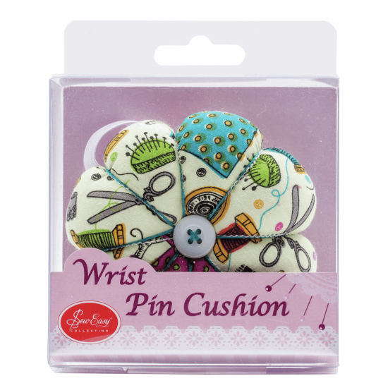 Notions Fabric Pincushion: Wrist Strap: